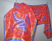 From Alice's estate: Red and purple neck scarf- paisley on red silk-like scarf- red, purple, gold rectangle scarf