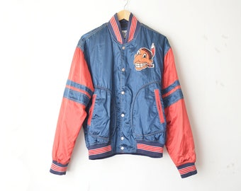 SALE // vintage oversized baseball bomber jacket with patch 90s // M