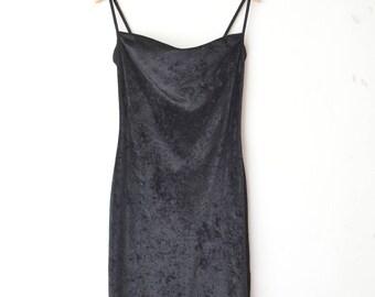 black velvet long maxi spaghetti strap dress 80s // M