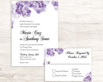 Orchids Wedding Invitation with RSVP card