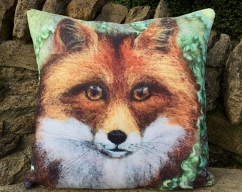 FOX Cushion from original felt artwork 'On Watch' - complete with pad.