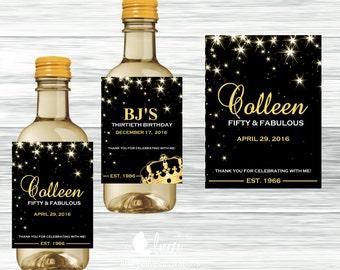Black and Gold Wine Bottle Labels, Wedding Labels, Birthday Labels - Digital File or Printed Mini Labels