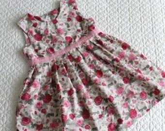 Girls dress, flower dress, pink roses dress, dress for little girl, girls dresses, bespoke dresses