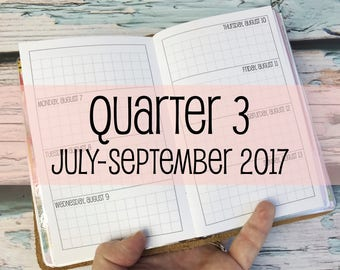 Traveler's Notebook POCKET Size Week on Two Pages Grid Horizontal {Q3 | July-September 2017} #600-18