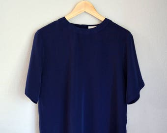Vintage Navy Blue Minimalist/T-Shirt Short Sleeve Blouse