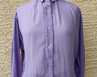 Danielle Jordanne Vintage Lilac Lavender Purple Secretary Blouse -Secretary Button Up Shirt- Show the Office Your Style