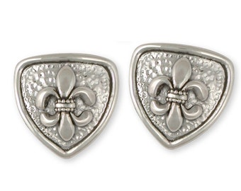 Fleur De Lis Cufflinks Jewelry Sterling Silver Handmade Flower Cufflinks FD9-CL