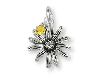 Black Eyed Susan Charm Jewelry Sterling Silver Handmade Flower Charm BES1-BDC