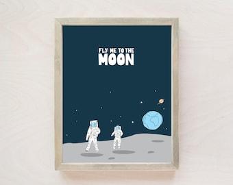 Nursery Wall Art, Space Nursery Decor, Moon Nursery Decor, Toddler Room Decor, Spaceman, Astronaut Nursery Art 8x10