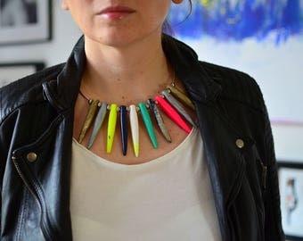 Stekelige ketting verklaring ketting, 2017 sieraden, tribal ketting, moderne verklaring bijouterie, moderne accessoire, vrouwen s mode, funky juweel