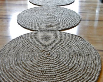 Hallway Rug, Large Rug, Jute rug, Runner rug, Natural Rug, Nautical decor, Eco Rug, no.037