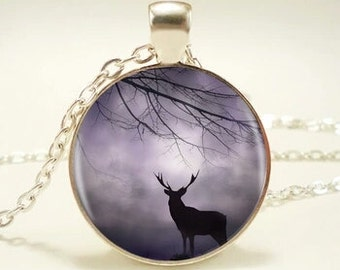 fairy forest deer picture pendant necklace