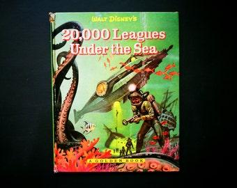 20'000 Leagues under the Sea, Walt Disney book, A golden book, Vintage Disney memorabilia, Disneyana collectible book, Movie memorabilia