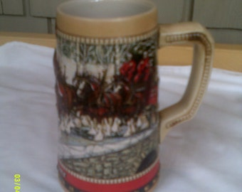 Vintage 1988 Budweiser Holiday Stein, Budweiser Beer Stein, Clydesdale Beer Stein, Bud Christmas Stein, Holiday Beer Stein, Pub Collectible