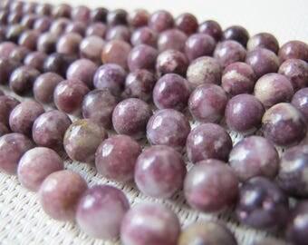 7.5-8mm Purple Flower Jade Round Bead S314