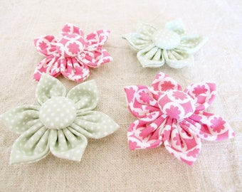 Flower Button Embellishments, Sewing Embellishments, Flower Embellishments, Fabric Flowers, Fabric Buttons, Flower Buttons, Craft Sale