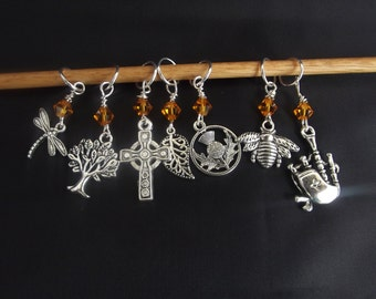 Outlander Inspired Knitting Stitch Markers (8) eight Markers