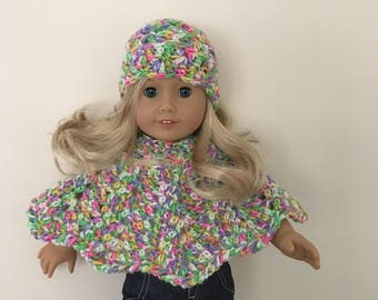 18 inch doll hat & poncho set! doll clothes, doll hat, doll poncho, American Girl, Gotz Precious day, doll outfit, toy, doll, multicoloured,