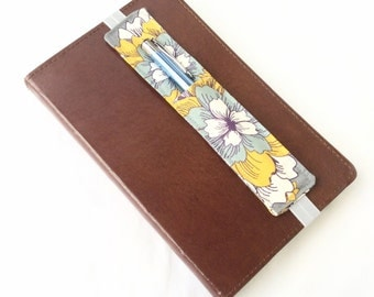 Purple, Gray and Yellow Flowers Pen Holder for Journal - Pencil Holder Journaling