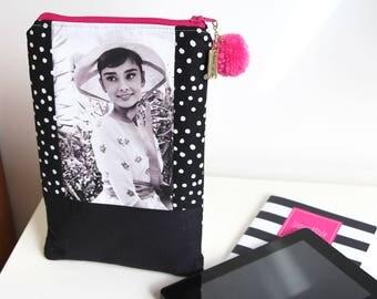Audrey Hepburn Zippered Pouch EReader Tablet Pouch