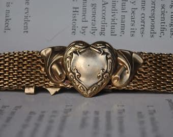 Antique Edwardian Rose Gold Mesh Choker - 1900s Art Nouveau Heart Necklace