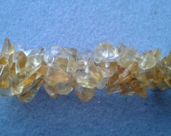 Boho Wire Wrapped Citrine Gemstone Beaded Hair Barrette