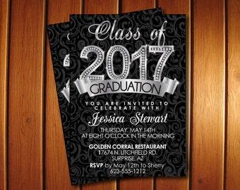 Diamond Graduation Announcement  for  College or High School - Printable Silver Graduation Invitation