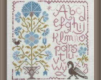 Quaker Sampler of Flowers 1 – counted cross stitch chart to work in 9 colours of DMC threads.  ABC Sampler. Quaker Sampler.