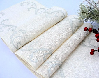 Silver Embroidery Ivory Burlap Table Runner Winter Wedding table decor Embroidered burlap country wedding decoration by Hot Cocoa Design