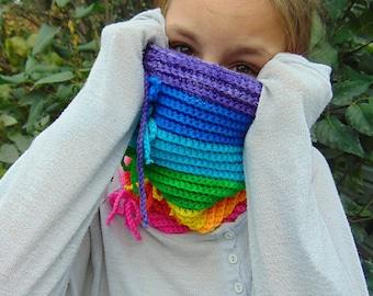 Rainbow, crochet convertible cowl pattern