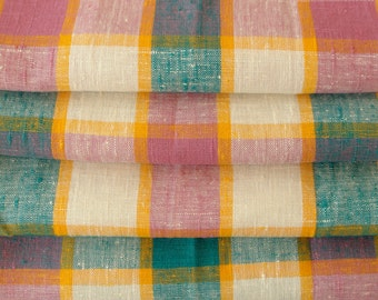 Linen napkin set of 4, linen napkins, plaid linen napkins, Scandinavian Fabric