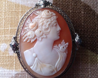 14k Cameo Pendant and Pin Large White Gold Cameo Incredible Detail Frame Beautiful Vintage Jewelry