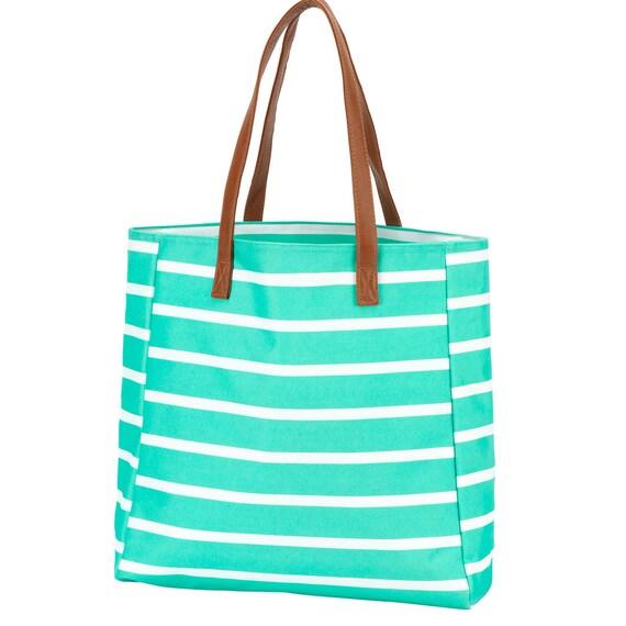 Mint Stripe tote purse tote bag canvas tote leather handle tote monogram tote LSU clemson embroidered bag tote bag monogram bag