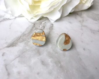 Marble Grey and Gold Dewdrop Teardrop Resin Post Stud Earrings. Nickel Free. Made by Hand in Australia. For Sensitive Ears.