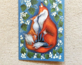 Mother & Baby Fox Greetings Card