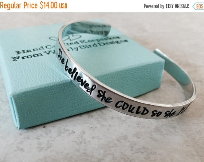 Featured listing image: ON SALE She believed she could, so she did cuff bracelet hand stamped bracelet personalized bracelet personalized jewelry