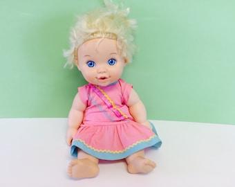 Vintage Baby Doll, Baby Uh-Oh Doll, Hasbro dolls, Hasbro 1989, 1980s Baby Dolls, Baby Alive, Doll with Diaper, Vintage 1980s dolls, 80s Girl