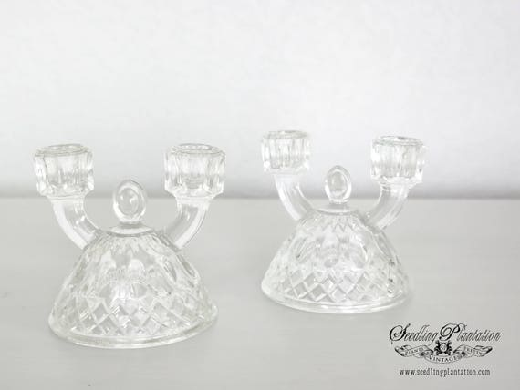 Vintage Glass Candle Holders Candelabra Set of 2 -Antique French Country Shabby Chic Farmhouse