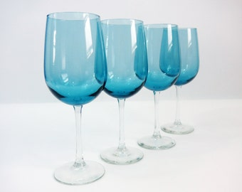 Vintage Set 4 Tall Blue Crystal Wine Glasses - Set of Four Large Wine Glasses w/ Clear Stems - VERY TALL Light Blue Glass w/ Clear Stem