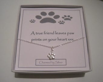 Sterling Silver Dog Paw Print Charm Necklace - a perfect gift for a dog lover