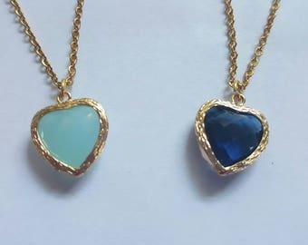 Aqua blue heart bezel pendant necklace, Aqua bezel pendant, Blue bezel pendant, Blue Aqua chalcedony necklace