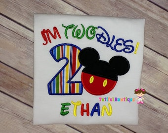 Mickey Mouse birthday shirt, I'm TWOdles birthday shirt, birthday girl, birthday boy