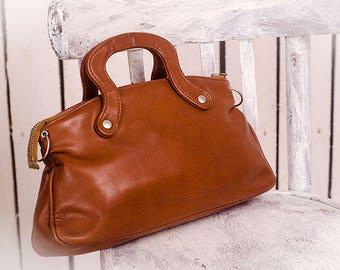 Vintage handbag vinyl purse brown Retro bag retro accessories mid century purse vintage ladies purse Eco leather bag mad man bag