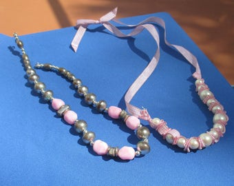 Lot Of Retro Pink Beaded Necklaces Ribbon Necklace TLC