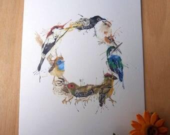 A5 Bright Bird Wreath Card