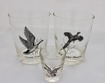 Vintage Game Bird Bar Ware Glasses/ Federal Glass/ Tumbler/ Shot Glass