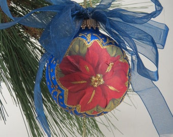 Handmade Ornament, Blue Christmas Ball, Poinsettia Christmas Ornament, Gift Under 10, Hand-painted