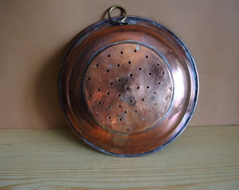 Antique Swedish large copper 10'' sieve colander strainer wall decor / Farmhouse kitchen decor / farmhouse decor Skimmer / copper wall decor