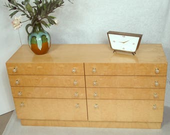 60s 70s 1o3 Drawer Chest Cabinet, 6 drawers 2 folding doors, Birch Piano lacquer, German Mid Century