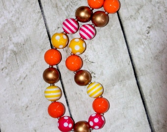 girls chunky bead necklace pink yellow orange gold bubblegum necklace bubble gum necklace toddler birthday  pink orange necklace birthday